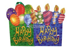 Ajándéktasak Happy Birthday 23x18cm több szín, 1 DB