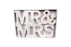 Fa Mr és Mrs felirat fehér, 1 DB