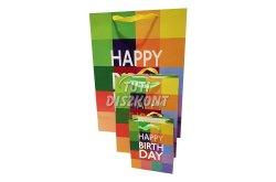Ajándéktasak színes kocka Happy Birthday 14x11cm, 1 DB